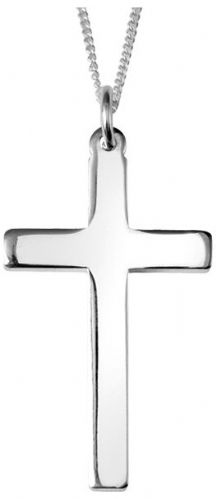 Plain Polished Sterling Silver Cross Necklace